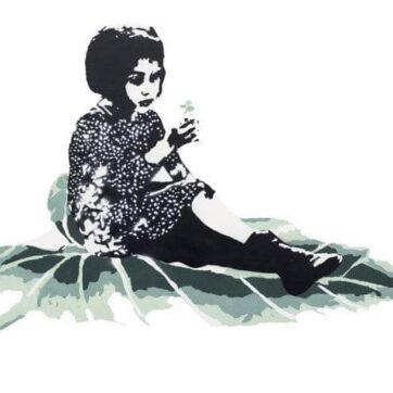 Girl on Leaf Original, Hvit